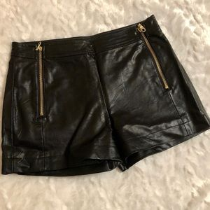 Forever 21 Black Faux Leather Shorts w Gold Zipper